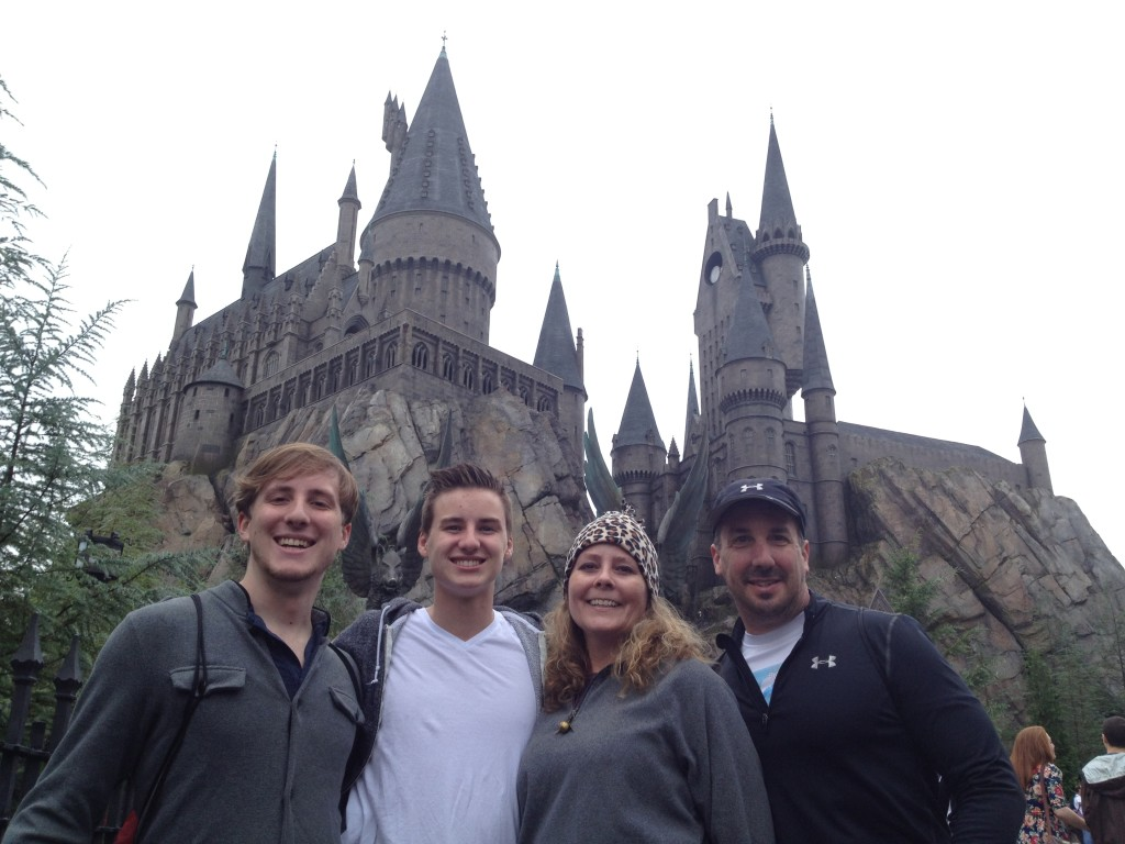 Big Boy, Little Bug, Dawn Maria & The Better Half outside of Hogwarts School of Witchcraft & Wizardry.