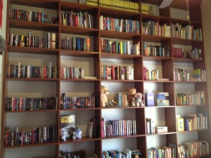 A lifelong dream fulfilled- floor-to-ceiling bookshelves! I unpacked 23 boxes of boxes. Sometimes I like to stand in the doorway and just look at them.