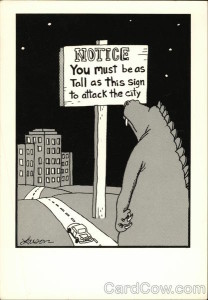 Notice You Must be as Tall as This Sign to Attack the City, The Far Side